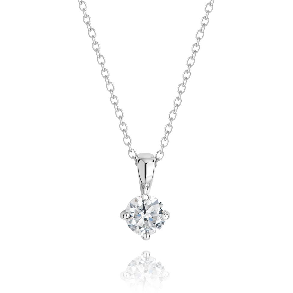 18ct White Gold Classic Diamond Solitaire Pendant Image 1