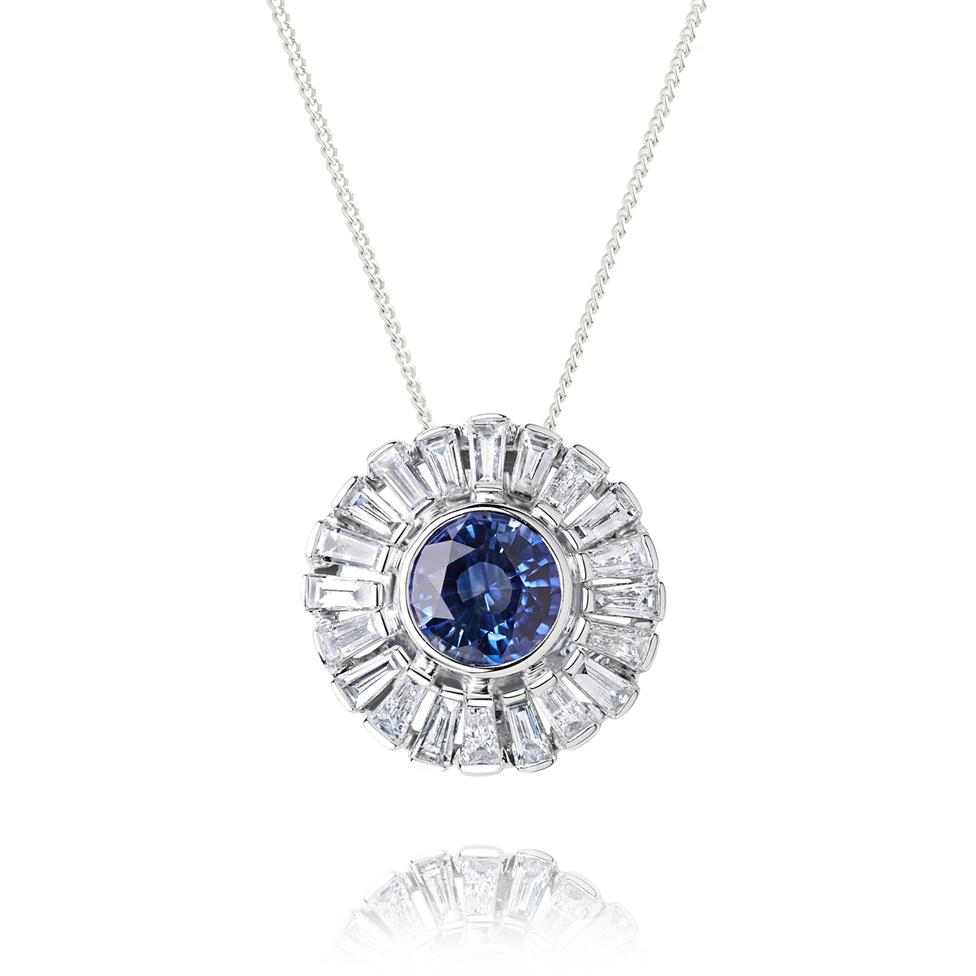 18ct White Gold Sapphire and Diamond Flower Pendant Image 1