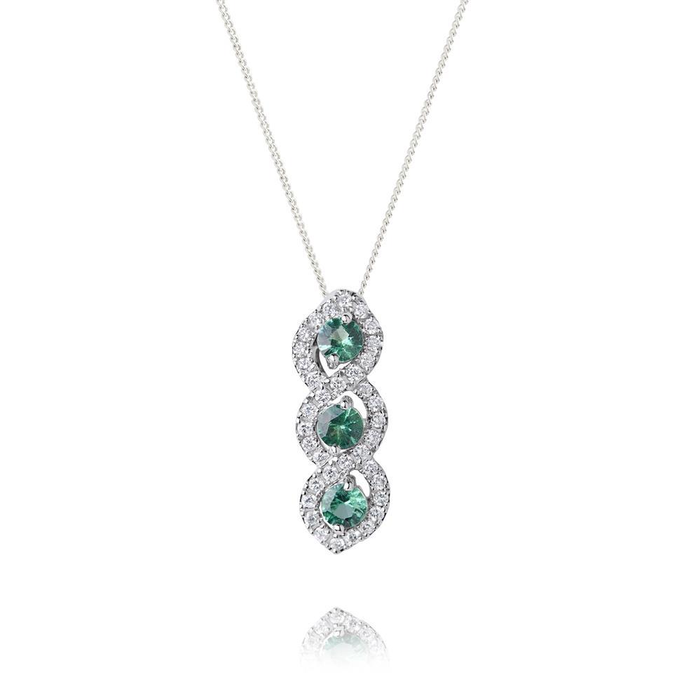 Oriana 18ct White Gold Emerald and Diamond Pendant Thumbnail Image 0