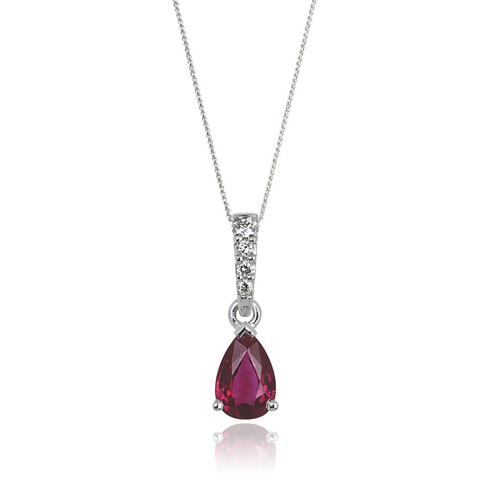 18ct White Gold Classic Ruby and Diamond Drop Pendant Image 1