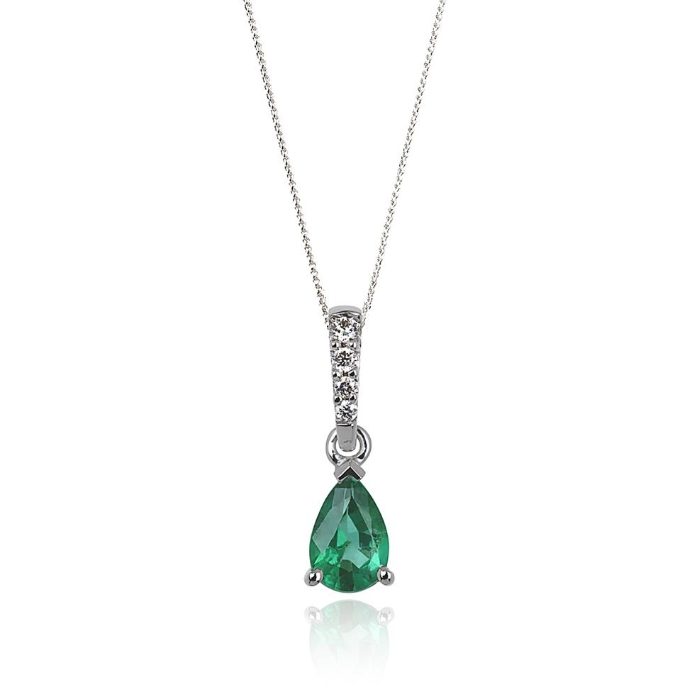 18ct White Gold Classic Emerald and Diamond Drop Pendant Image 1