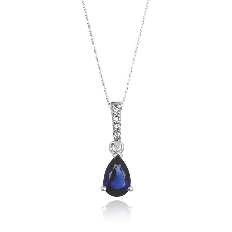 18ct White Gold Classic Sapphire and Diamond Drop Pendant Thumbnail Image 0