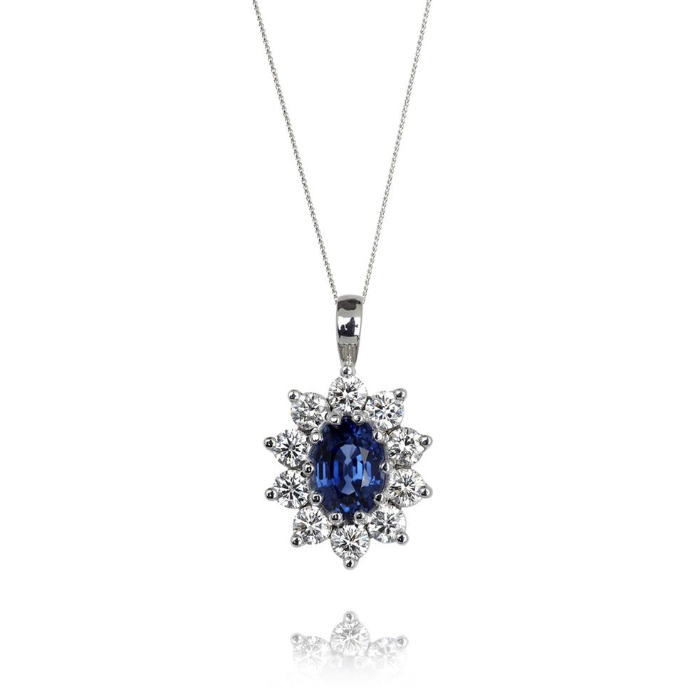 18ct White Gold Sapphire and Diamond Cluster Pendant Image 1