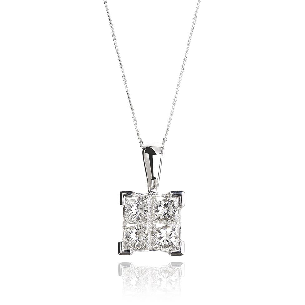 Illusion 18ct White Gold 0.50ct Diamond Pendant Thumbnail Image 0