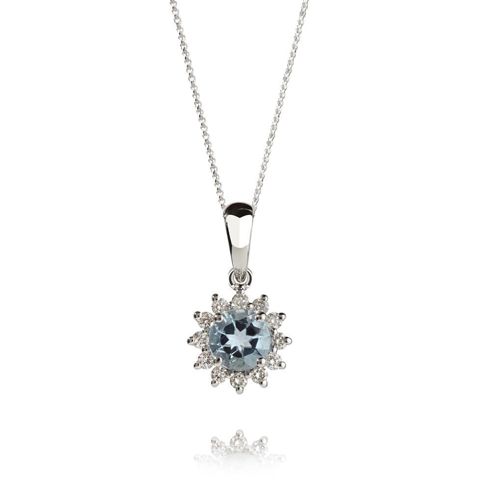 18ct White Gold Aquamarine and Diamond Cluster Pendant Thumbnail Image 0