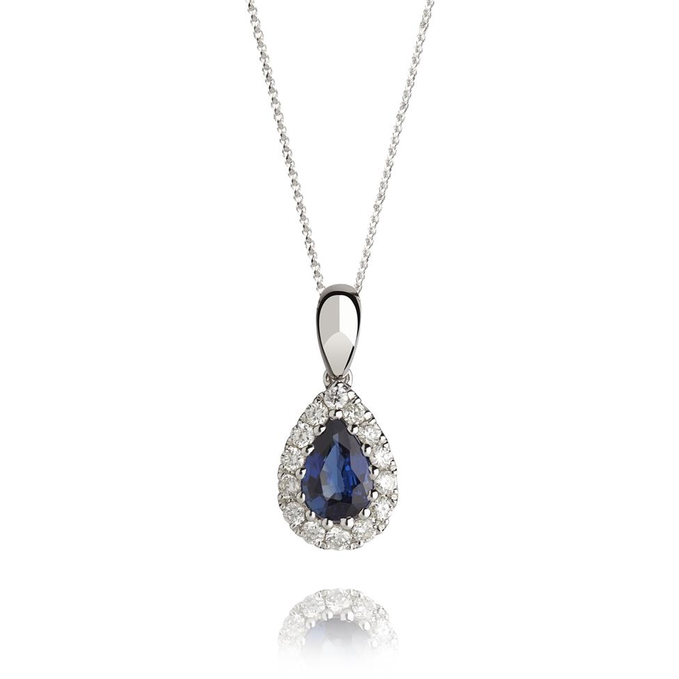 18ct White Gold Pear Shape Sapphire and Diamond Pendant Image 1