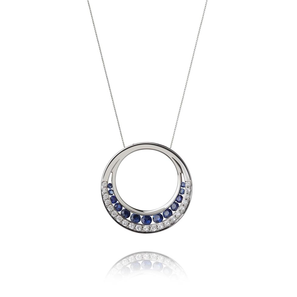 18ct White Gold Sapphire and Diamond Circle Pendant Image 1