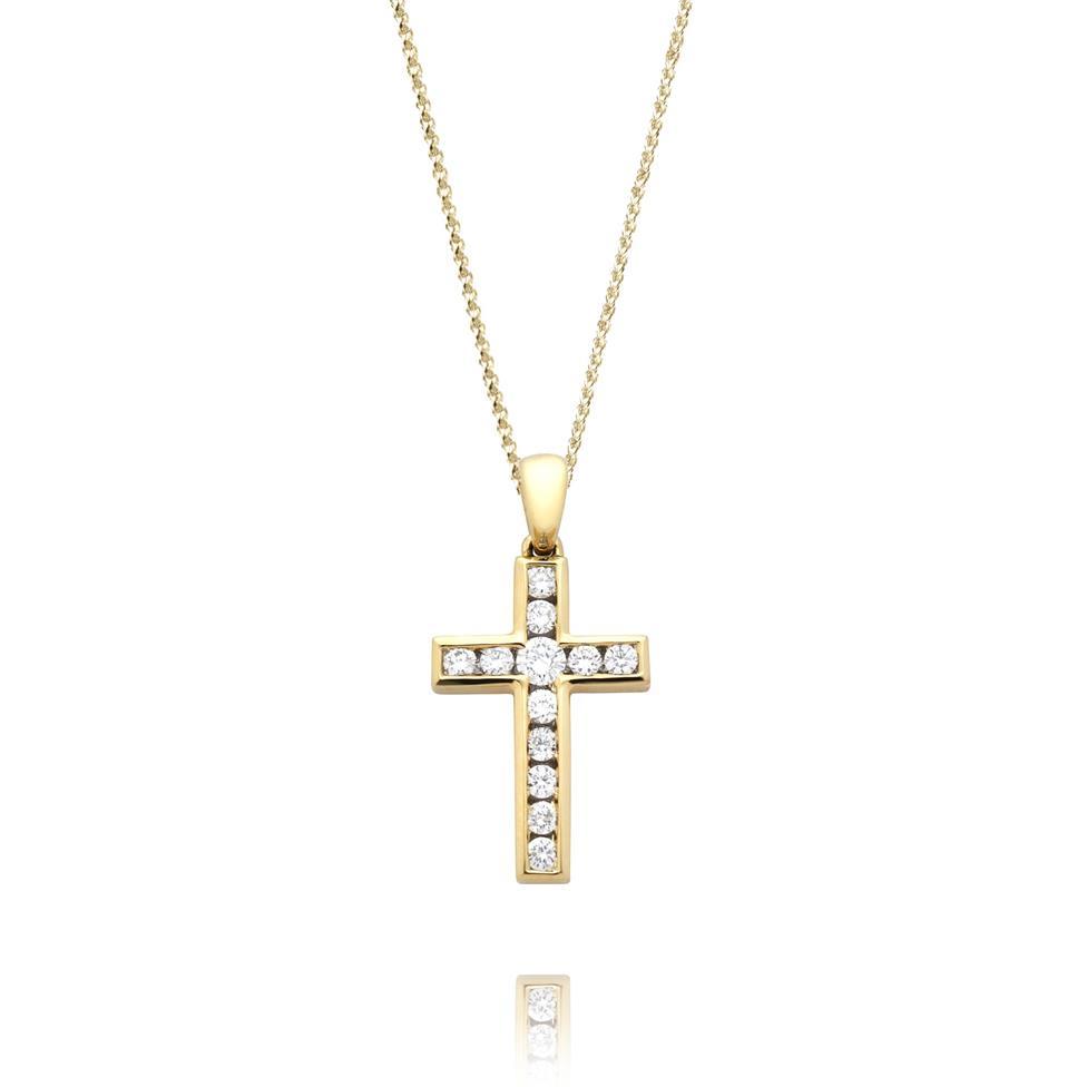 18ct Yellow Gold Diamond Cross Pendant 0.25ct Thumbnail Image 0