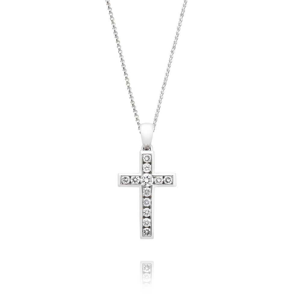 18ct White Gold Diamond Cross Pendant 0.25ct Thumbnail Image 0
