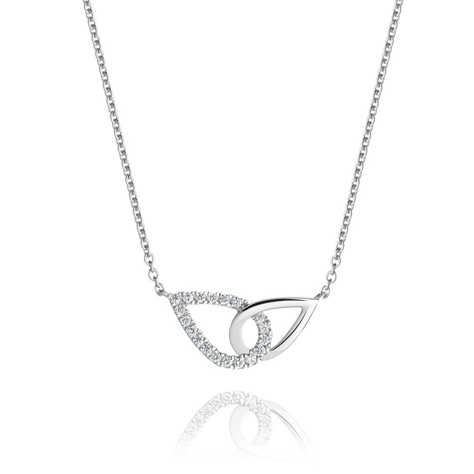 Union 18ct White Gold Diamond Pear Necklace Thumbnail Image 0