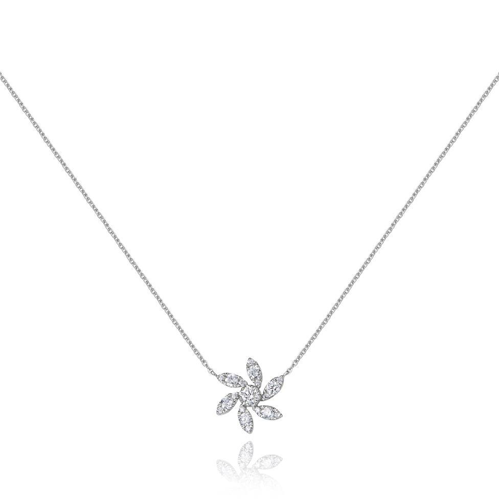 18ct White Gold Flower Design Diamond Necklace 0.36ct Thumbnail Image 0