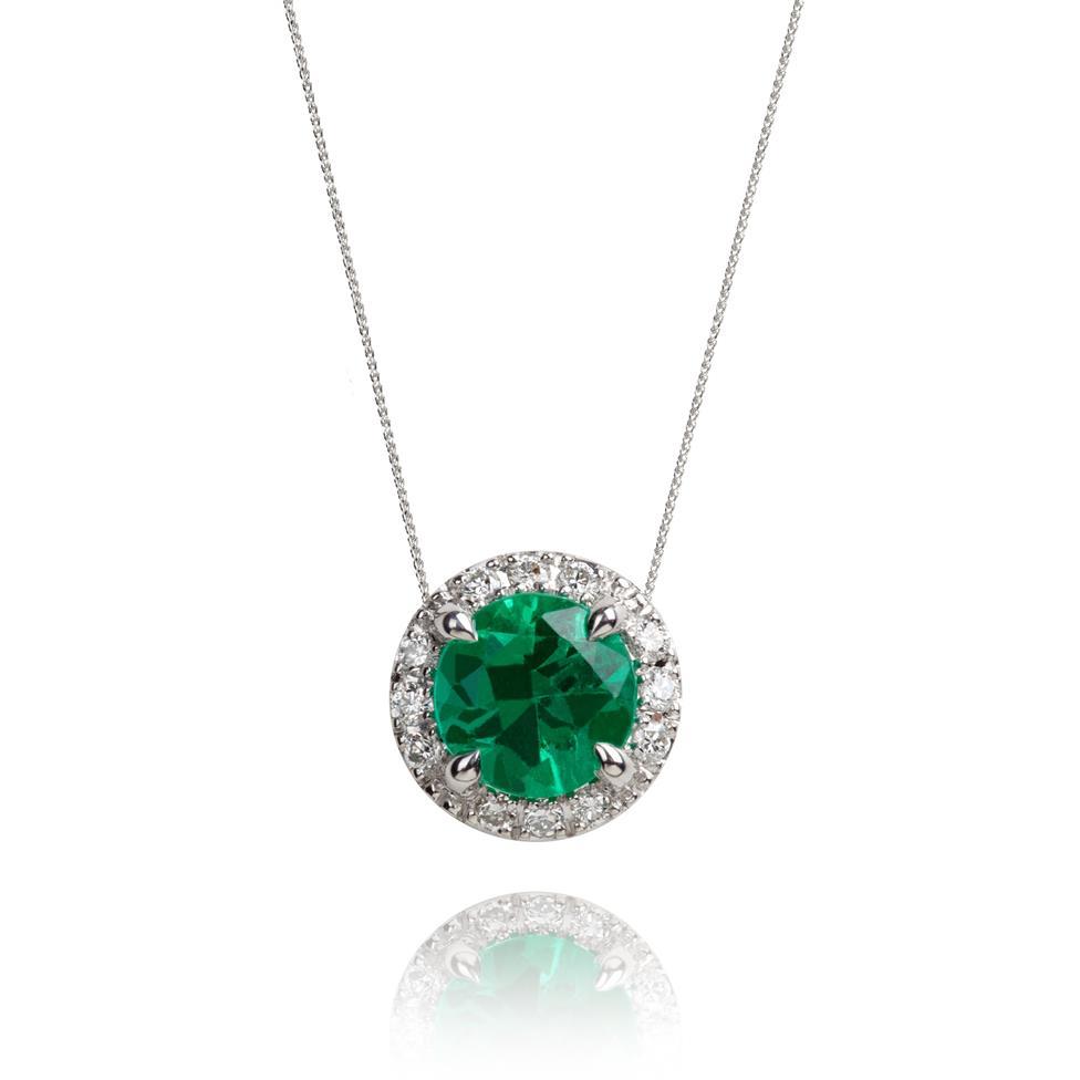 Camellia 18ct White Gold Emerald and Diamond Halo Necklace Thumbnail Image 0