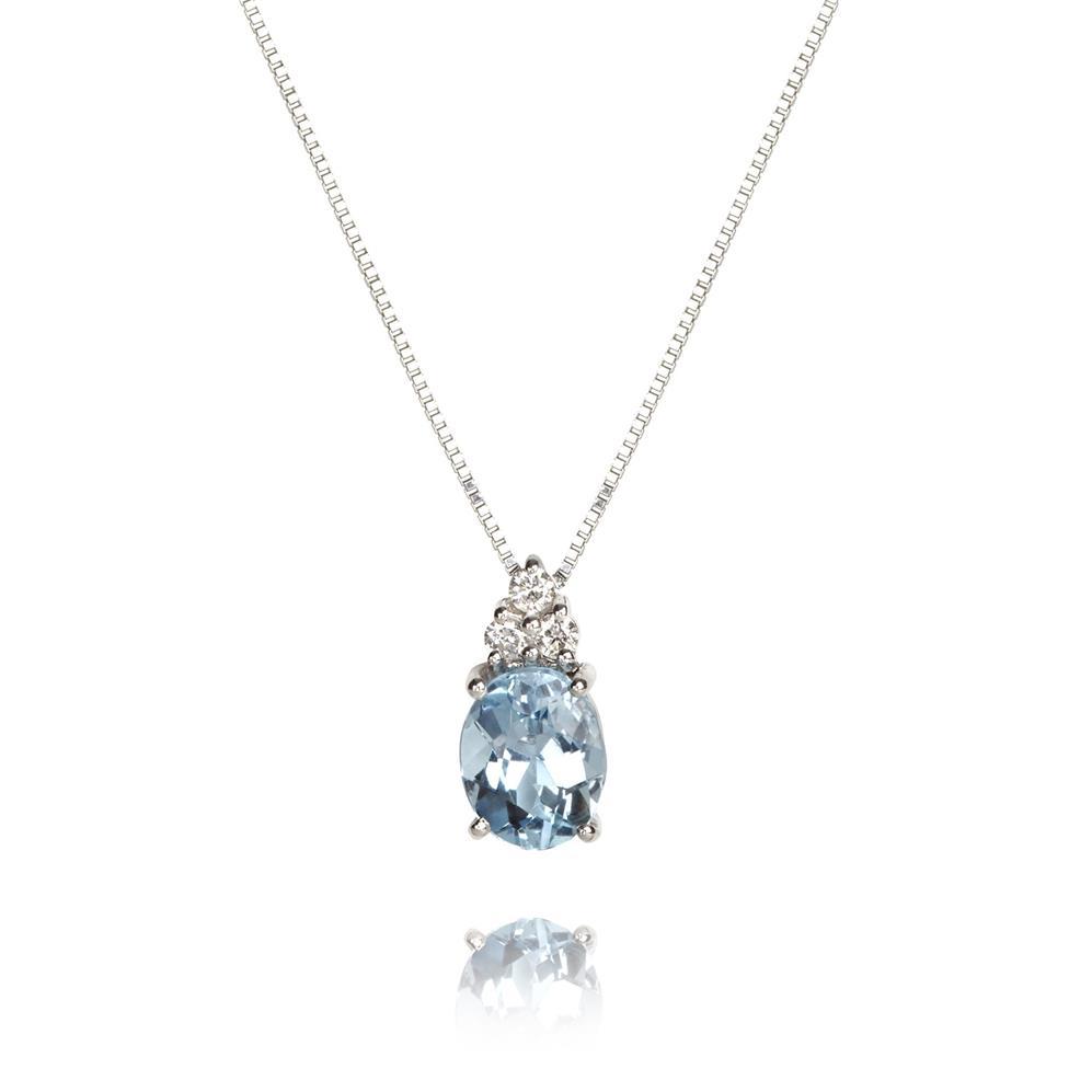 18ct White Gold Aquamarine and Diamond Necklace Thumbnail Image 0