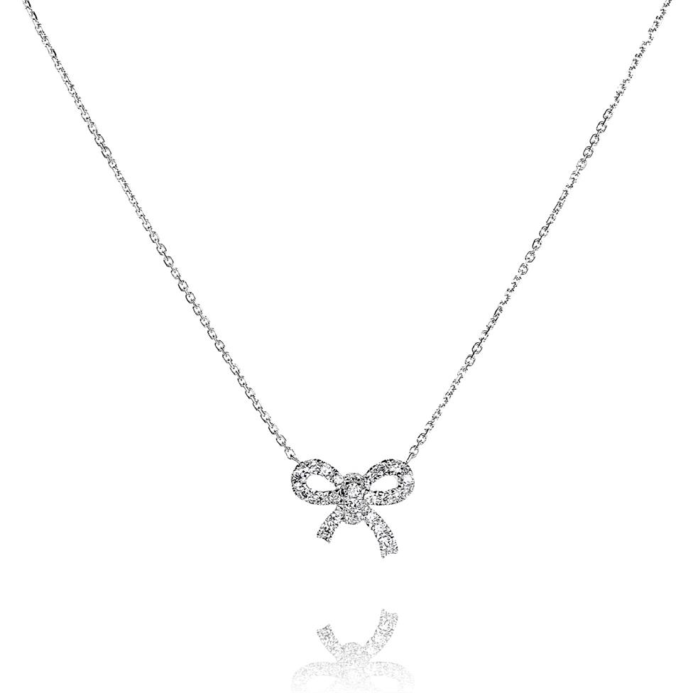 18ct White Gold Diamond Bow Necklace Image 1