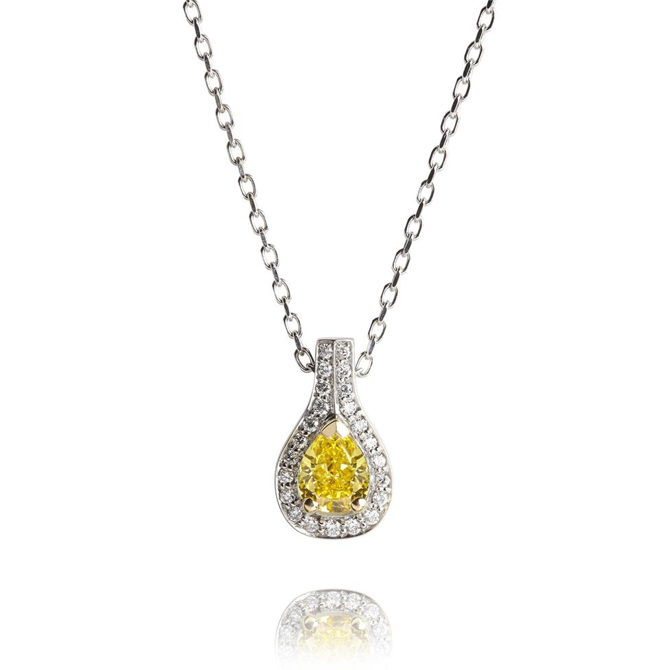 18ct White Gold Yellow and White Diamond Halo Necklace 0.46ct Thumbnail Image 0