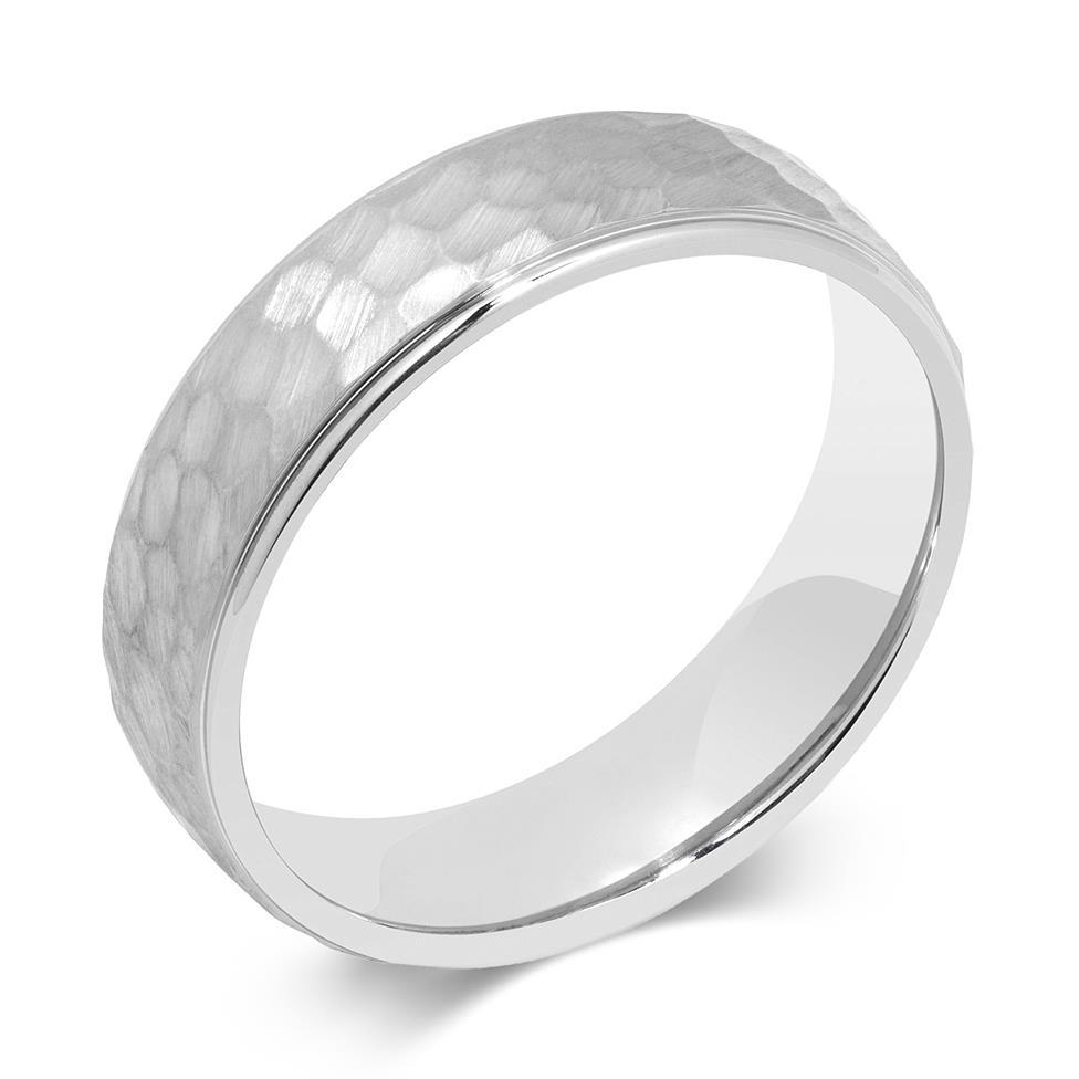 Palladium Hammered Finish Wedding Ring Image 1