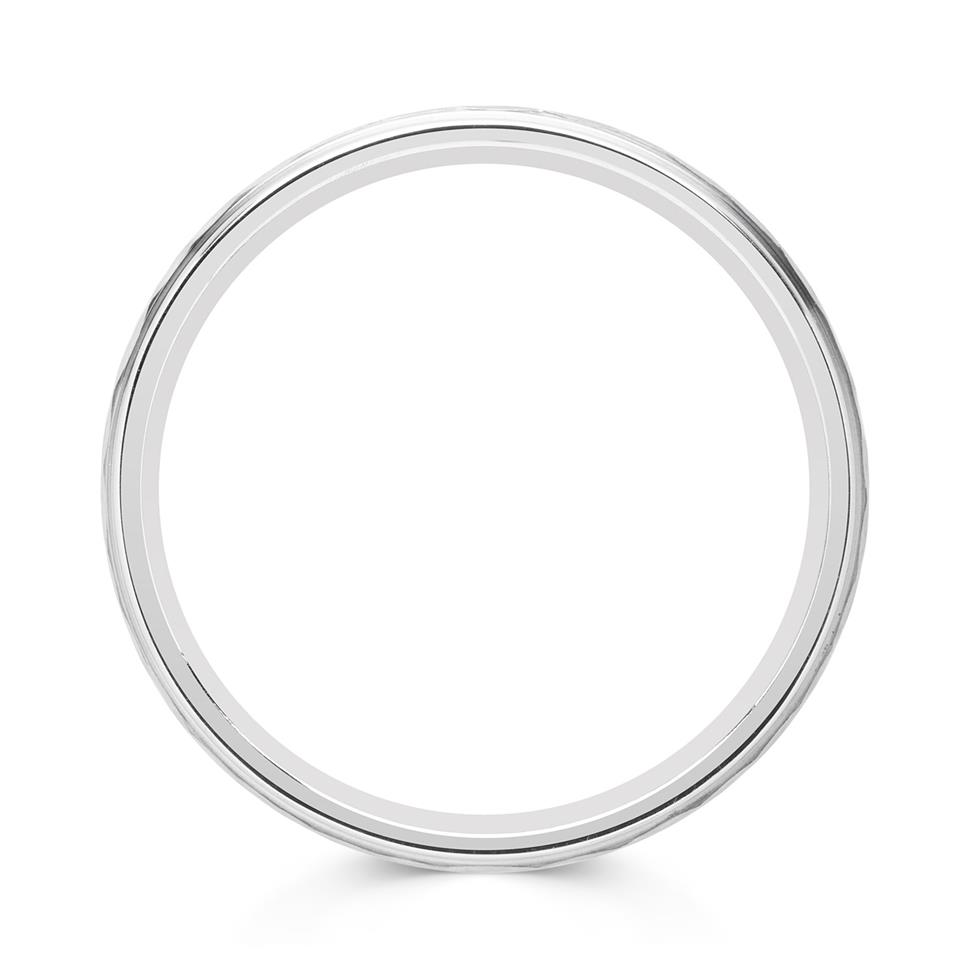 Palladium Hammered and Brushed Wedding Ring Thumbnail Image 1