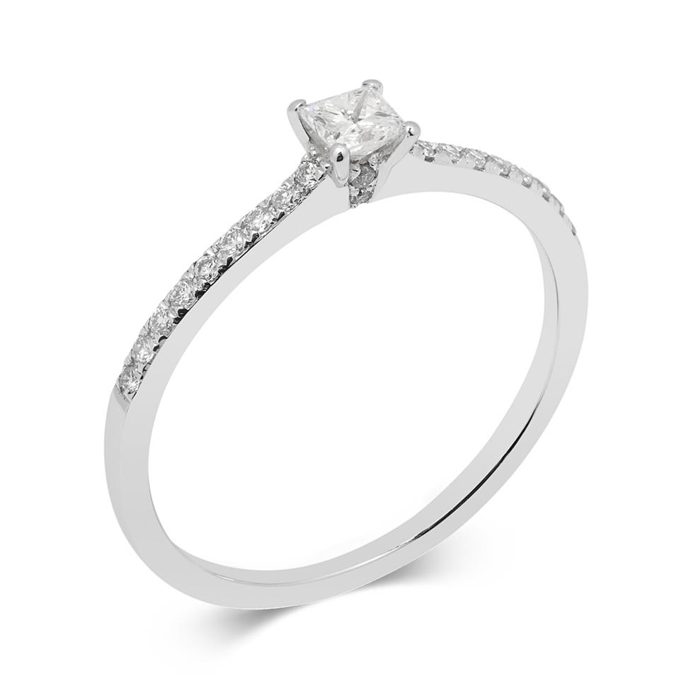 Platinum 0.28ct Princess Cut Diamond Solitaire Ring Thumbnail Image 0