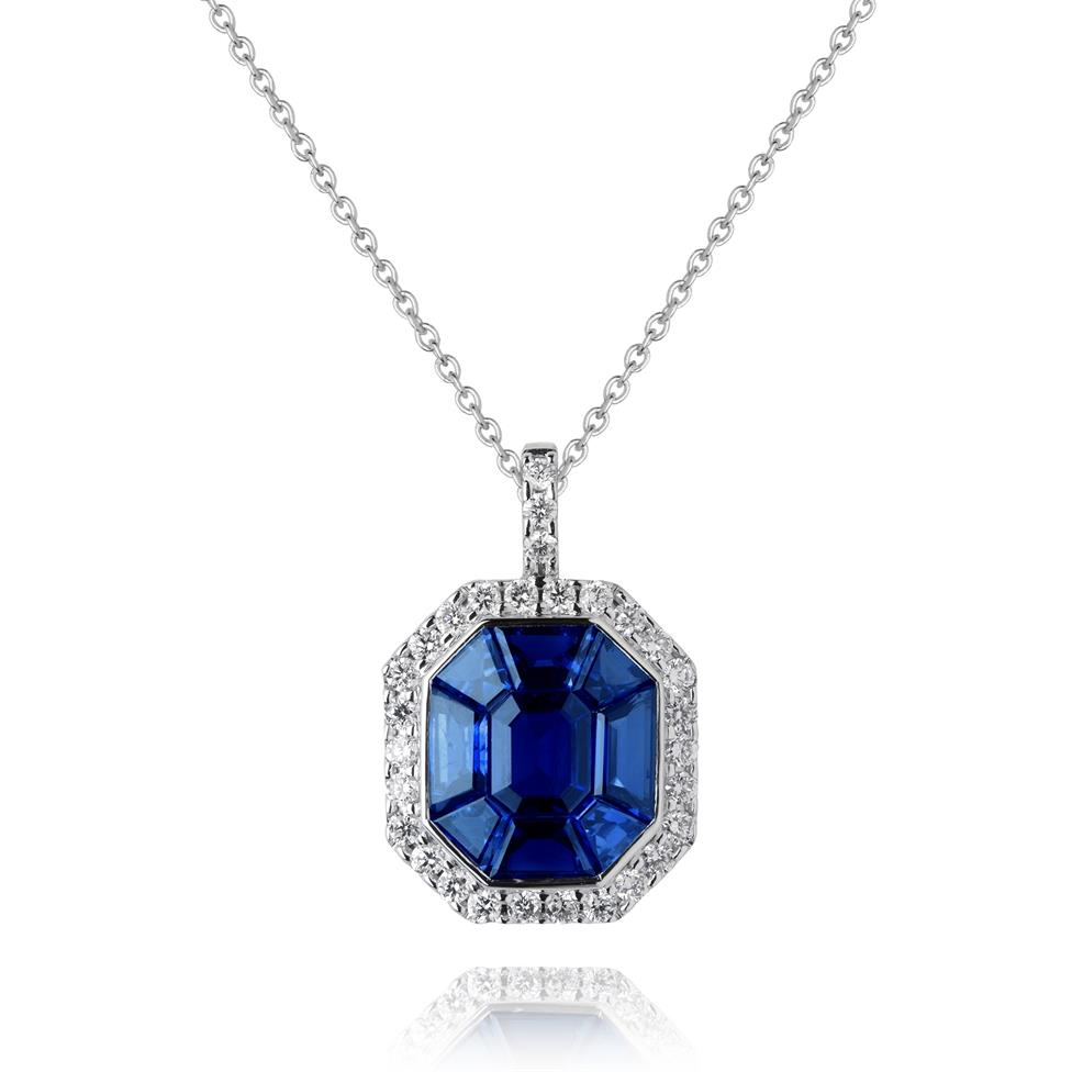 Odyssey 18ct White Gold Blue Sapphire Pendant Image 1