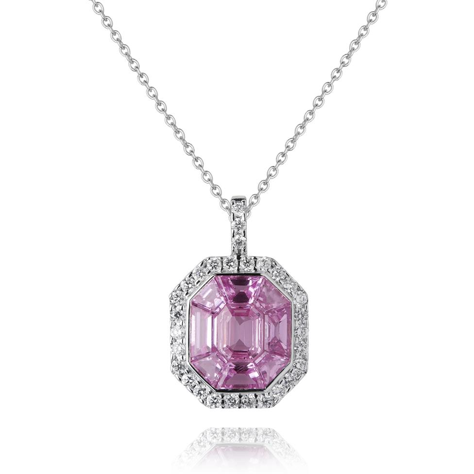 Odyssey 18ct White Gold Pink Sapphire Pendant