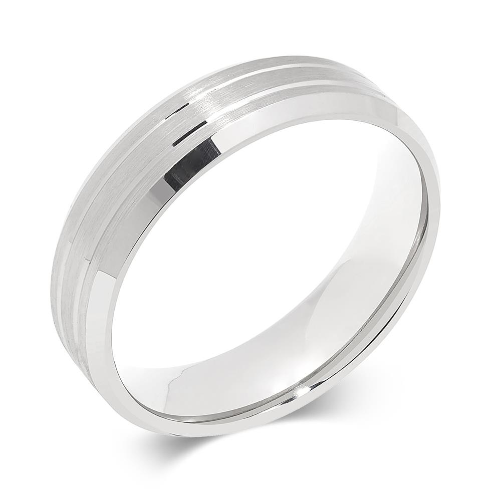 Palladium Brushed and Grooved Wedding Ring Image 1