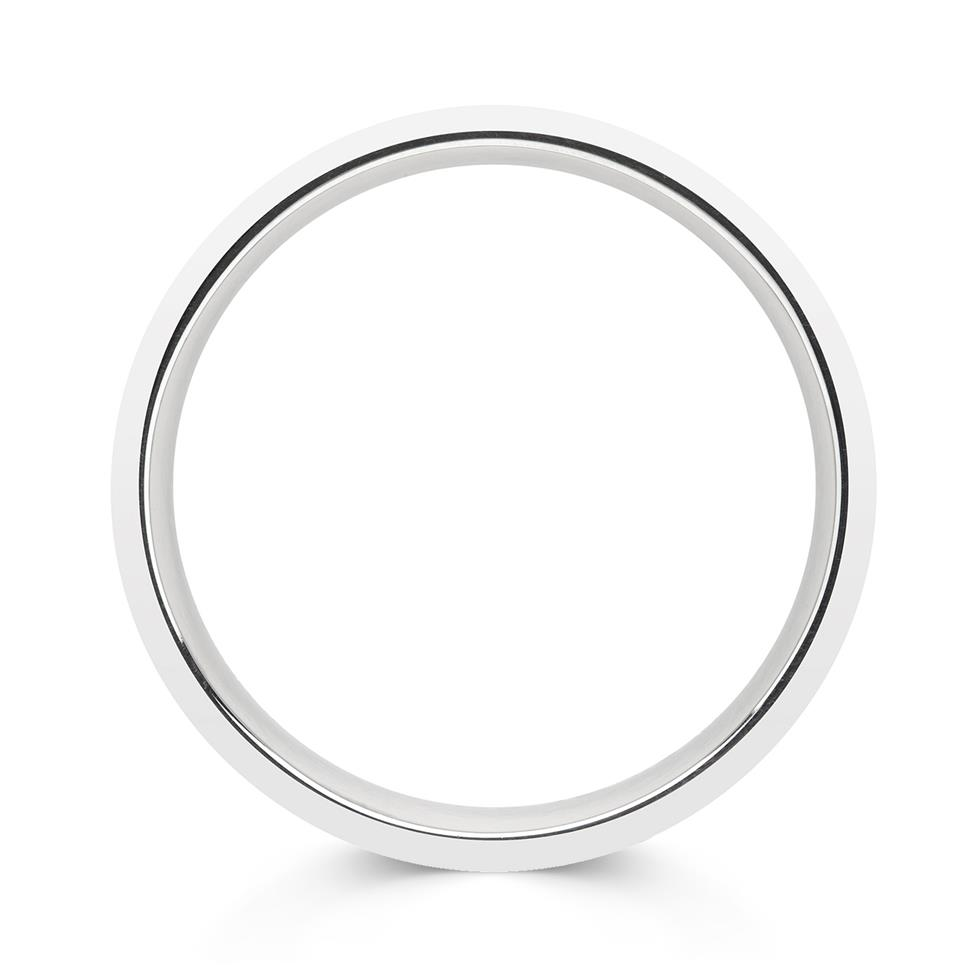 Palladium Brushed and Grooved Wedding Ring Thumbnail Image 1