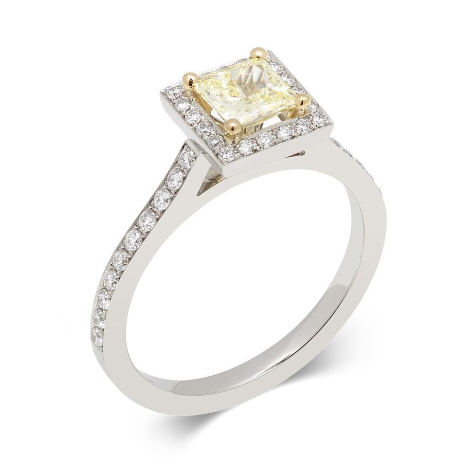 Platinum Princess Cut Yellow Diamond Halo Engagement Ring 0.83ct Thumbnail Image 0