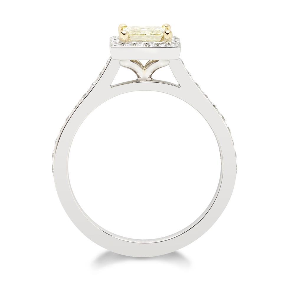 Platinum Princess Cut Yellow Diamond Halo Engagement Ring 0.83ct Thumbnail Image 1