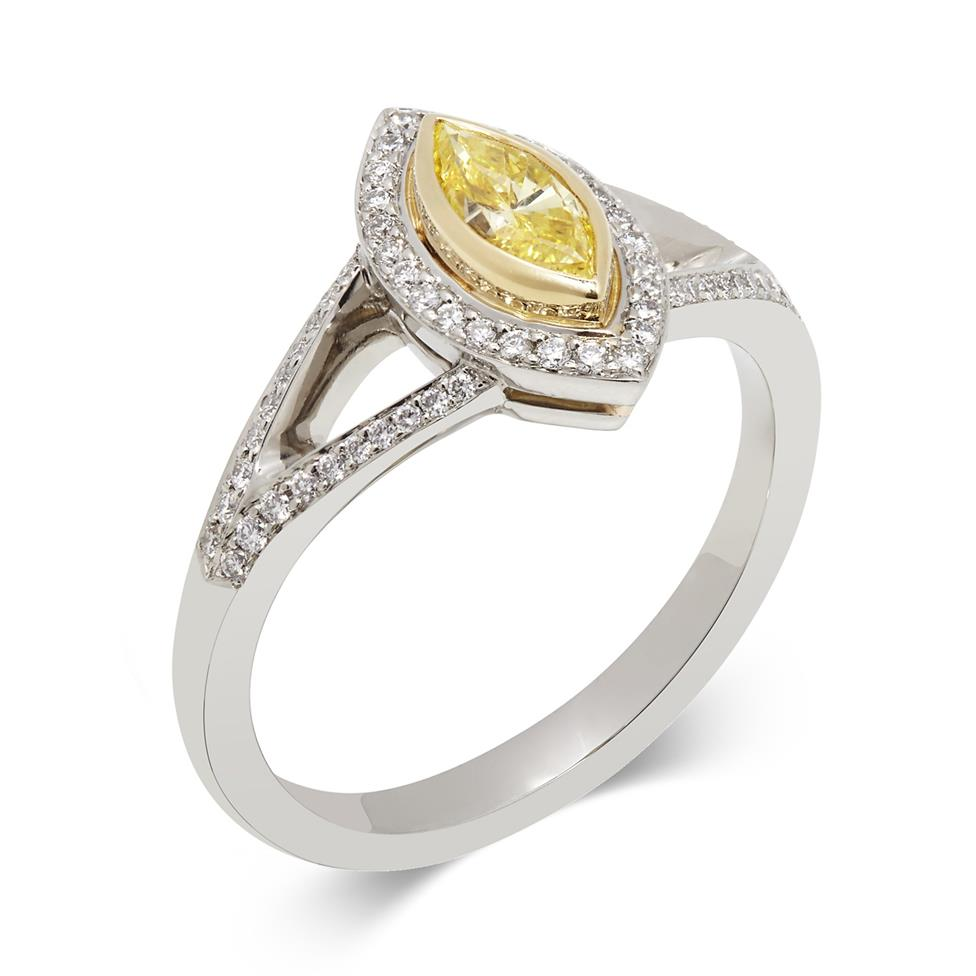 Platinum Art Deco Marquise Cut Yellow Diamond Cluster Ring Thumbnail Image 0