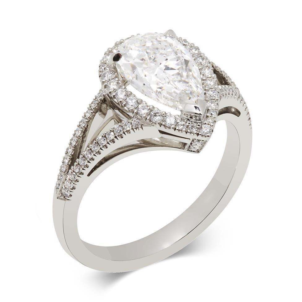 Platinum Split Shoulder Detail Pear Shape Diamond Halo Engagement Ring 1.90ct Thumbnail Image 0