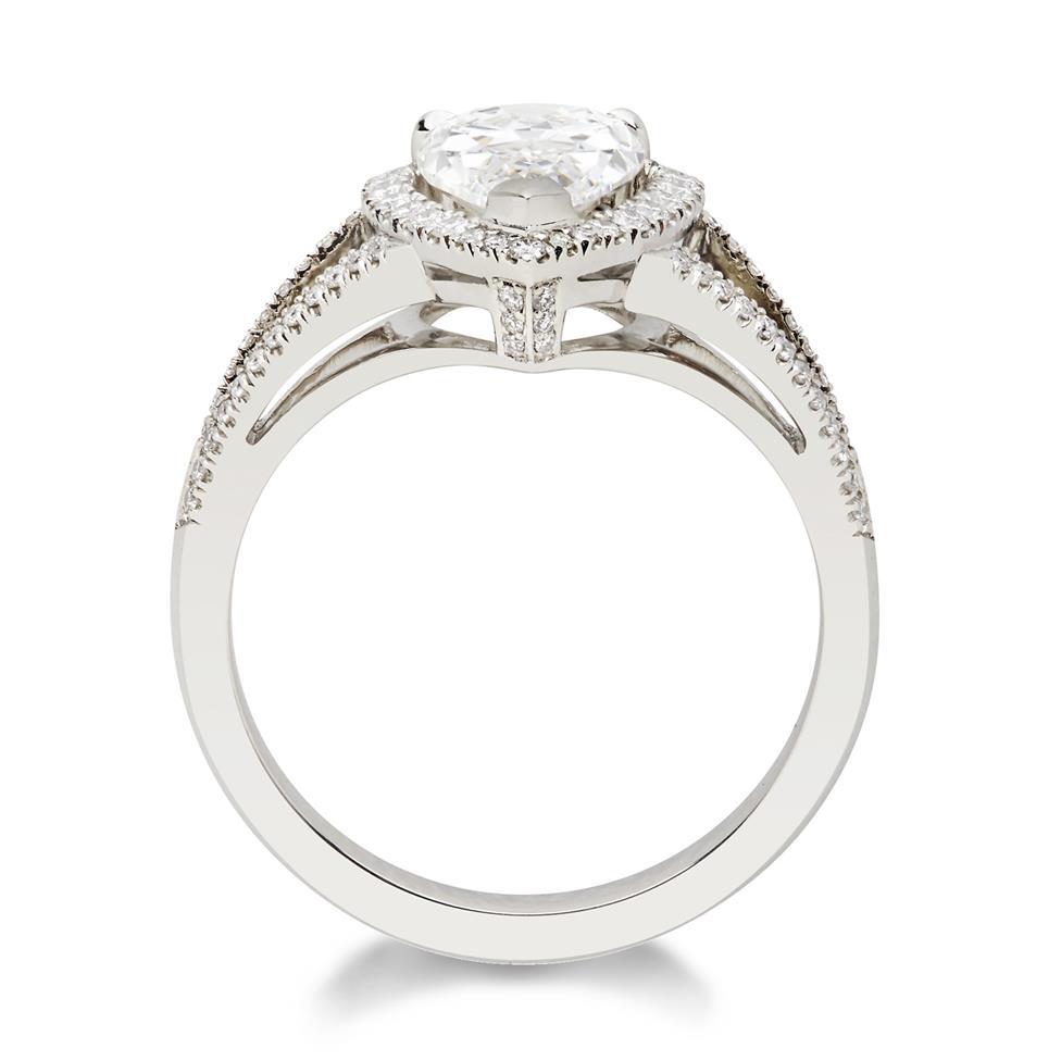 Platinum Split Shoulder Detail Pear Shape Diamond Halo Engagement Ring 1.90ct Thumbnail Image 1