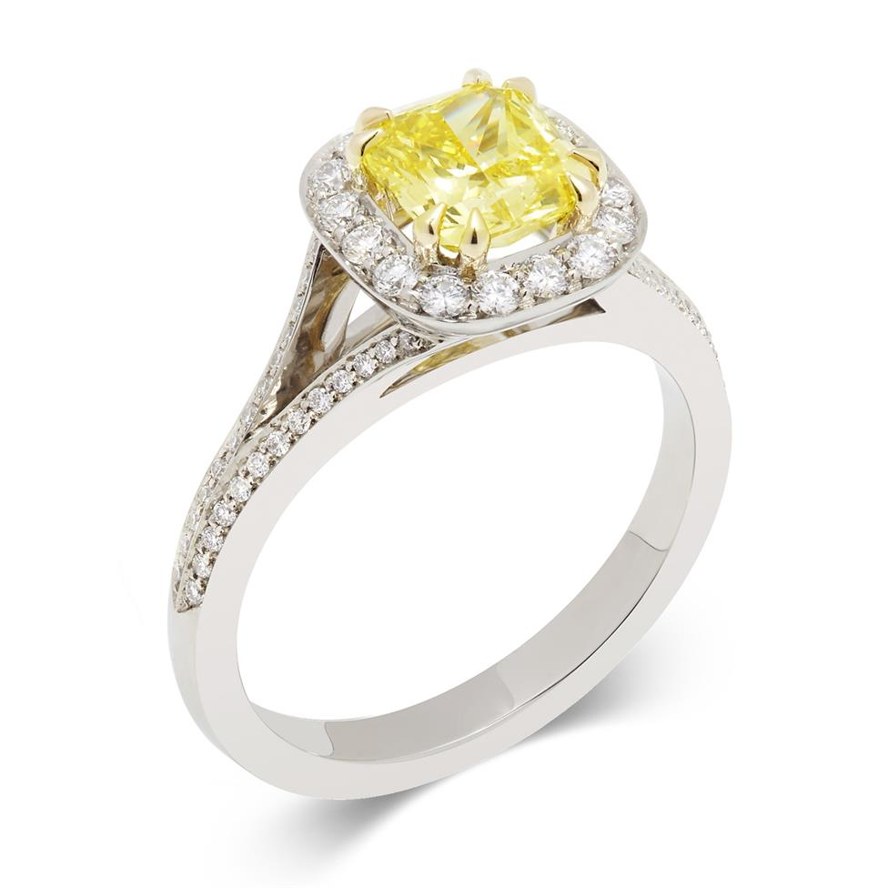 Platinum Vintage Inspired Cushion Cut Yellow Diamond Halo Engagement Ring Thumbnail Image 0