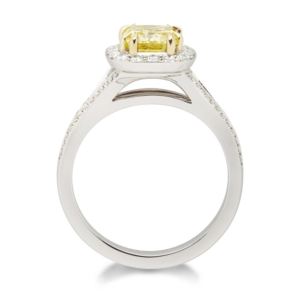Platinum Vintage Inspired Cushion Cut Yellow Diamond Halo Engagement Ring Thumbnail Image 1