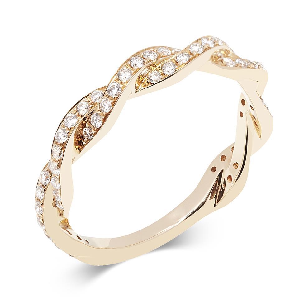18ct Rose Gold Plaited Design Diamond Dress Ring Thumbnail Image 0