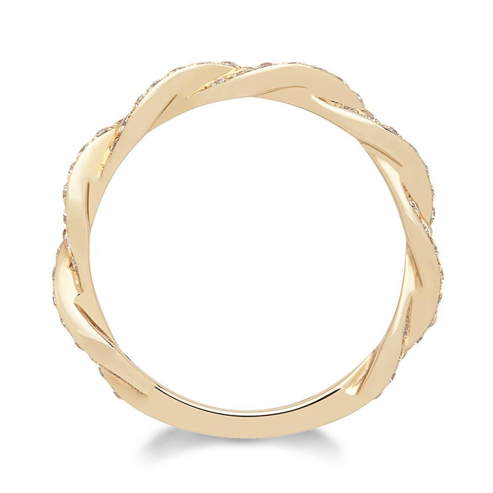 18ct Rose Gold Plaited Design Diamond Dress Ring Thumbnail Image 1