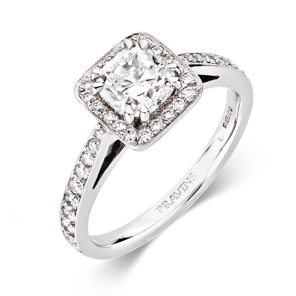 Platinum Vintage Inspired Cushion Cut 0.90ct Diamond Halo Ring Thumbnail Image 0