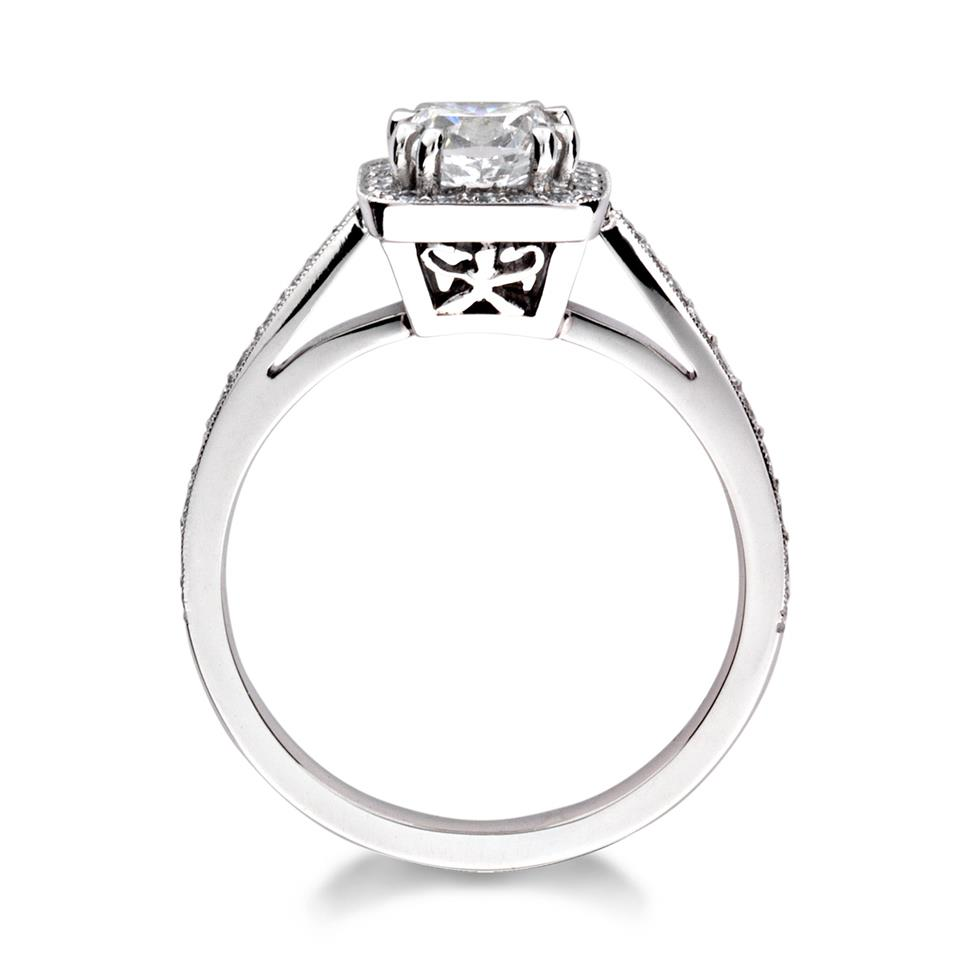 Platinum Vintage Inspired Cushion Cut 0.90ct Diamond Halo Ring Thumbnail Image 1