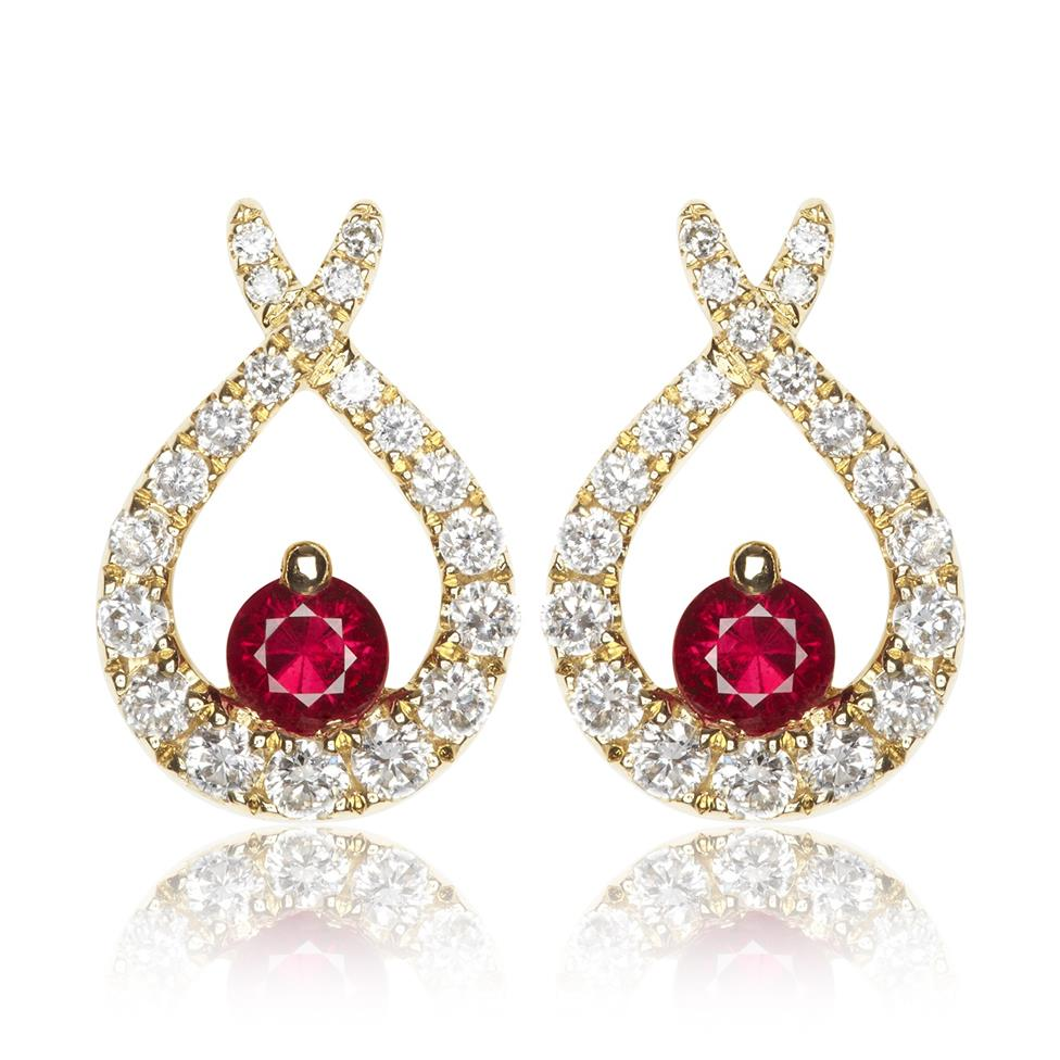 18ct Yellow Gold Ruby and Diamond Crossover Stud Earrings Thumbnail Image 0