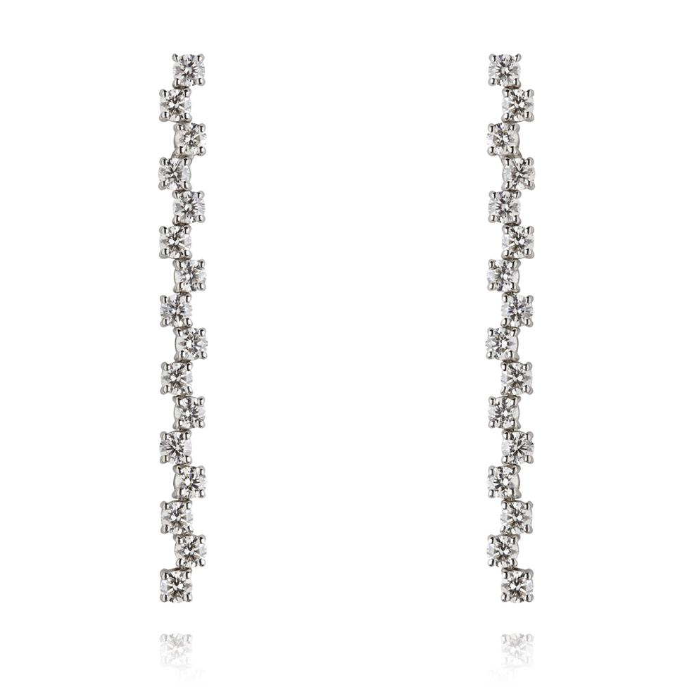 18ct White Gold Zig-Zag Bar Diamond Drop Earrings Image 1