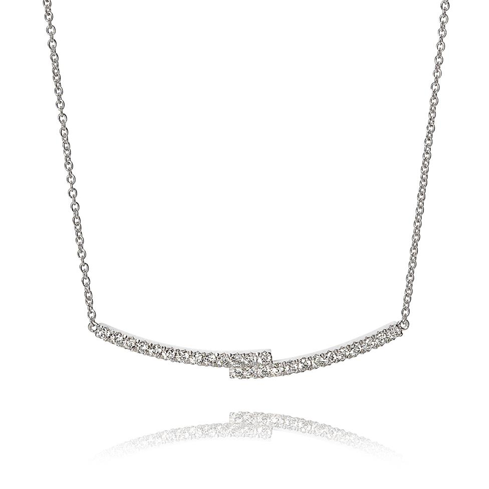 18ct White Gold Overlapping Bars Diamond Necklace Thumbnail Image 0