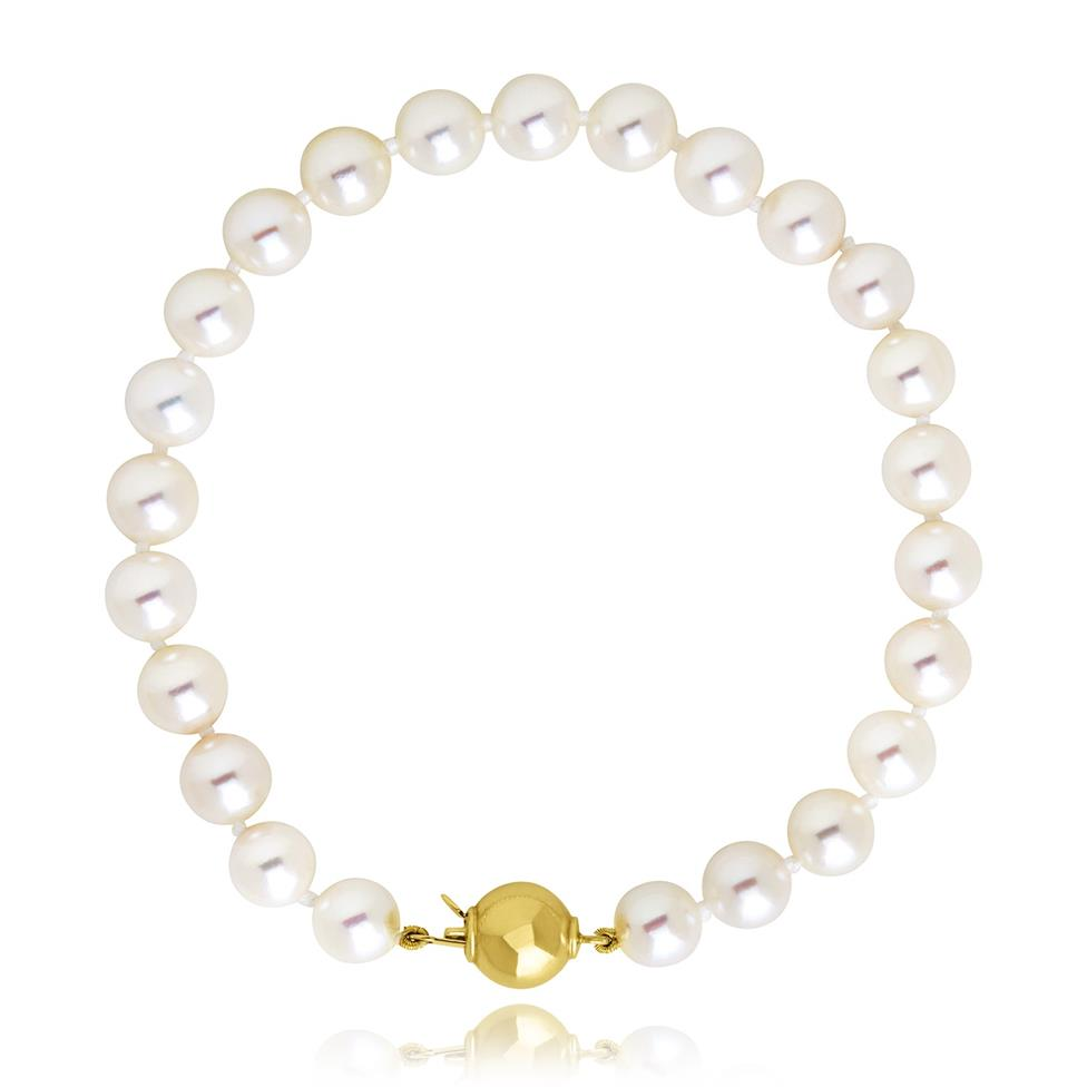 18ct Yellow Gold Classic Akoya Pearl Bracelet Image 1