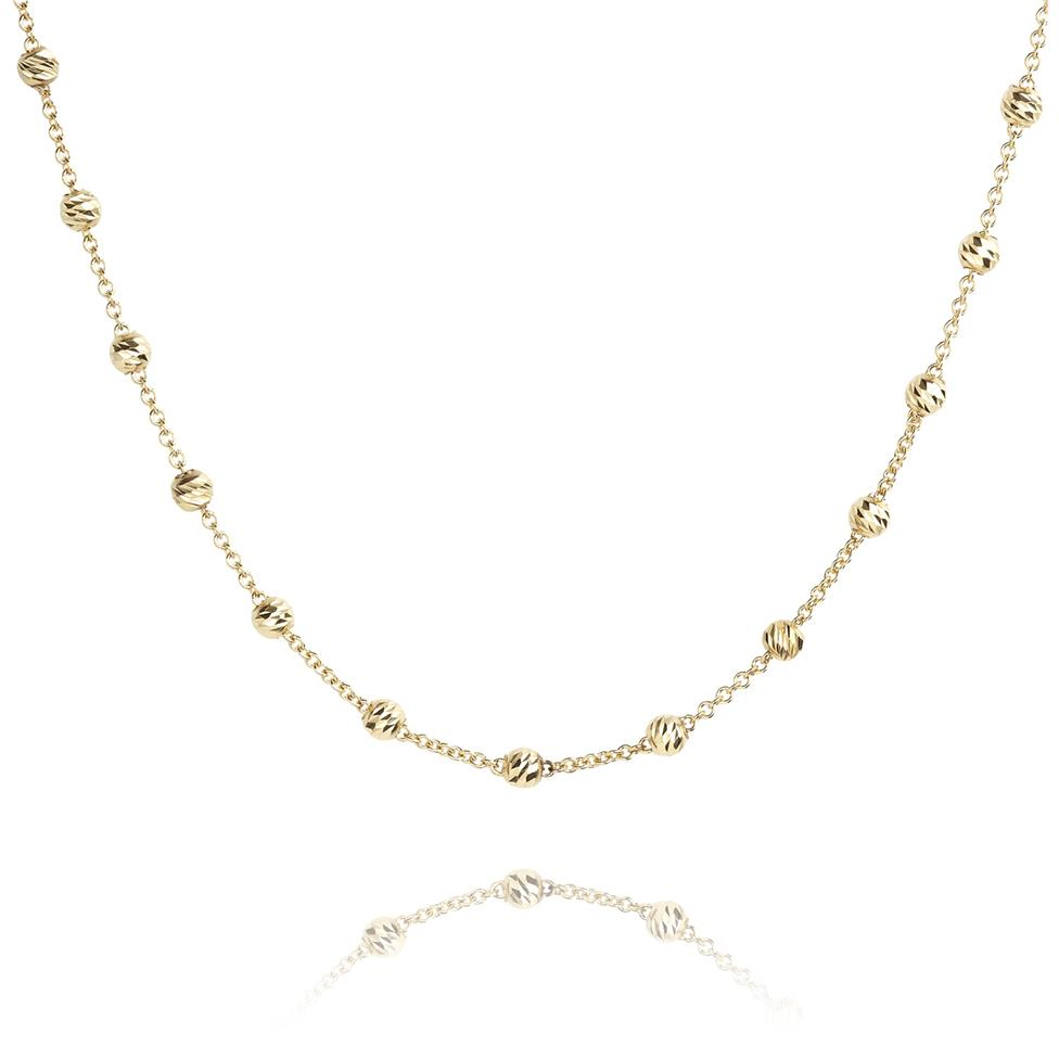 18ct Yellow Gold Faceted Bead Detail Station Necklace Thumbnail Image 0