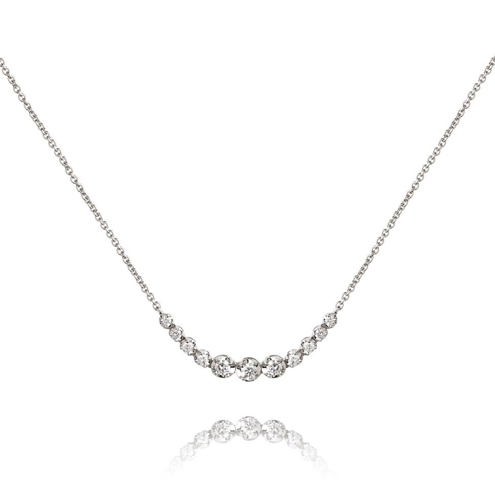 18ct White Gold Graduated Diamond Necklace Thumbnail Image 0