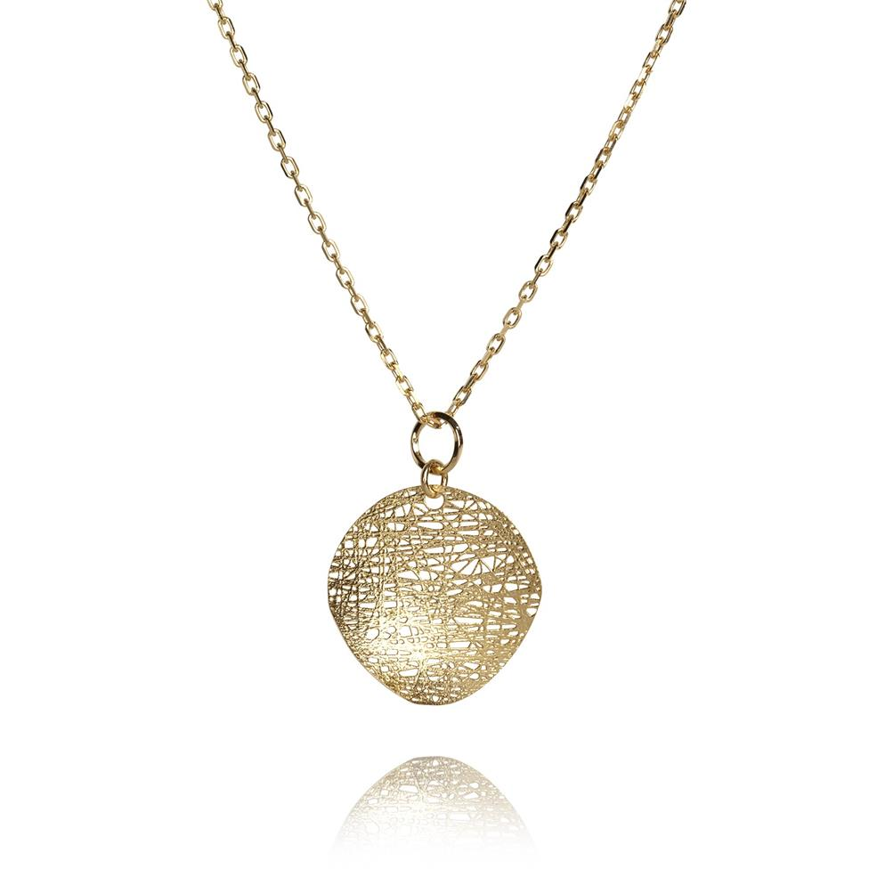 Sahara 18ct Yellow Gold 20mm Disc Necklace Image 1