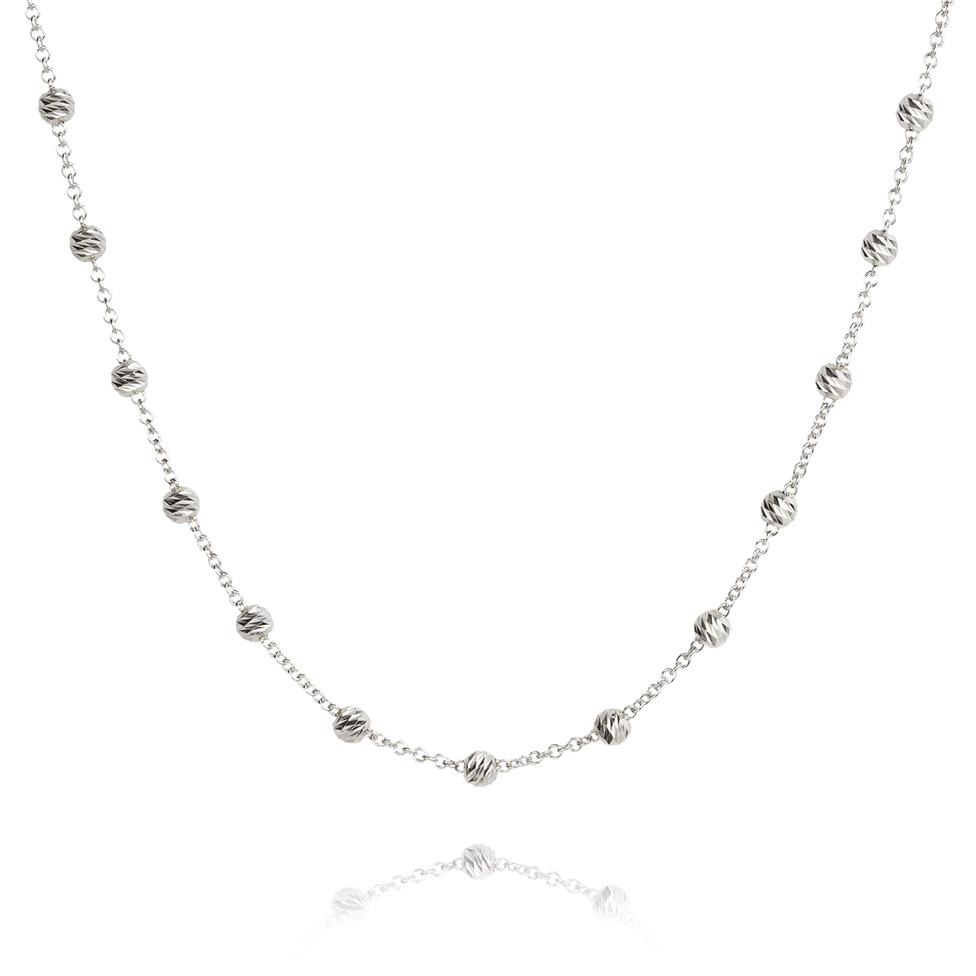 18ct White Gold Faceted Bead Detail Station Necklace Thumbnail Image 0