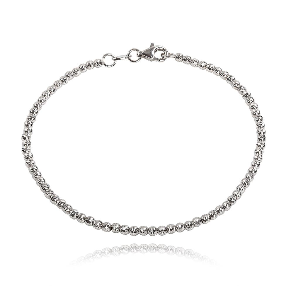 18ct White Gold Faceted Bead Detail Bracelet  Thumbnail Image 0