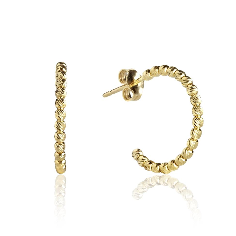 18ct Yellow Gold Large Faceted Hoop Earrings Image 1