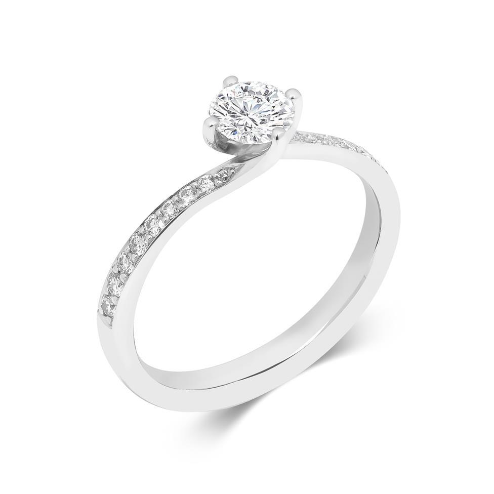 Platinum Twist Design Diamond Solitaire Engagement Ring 0.75ct Thumbnail Image 0