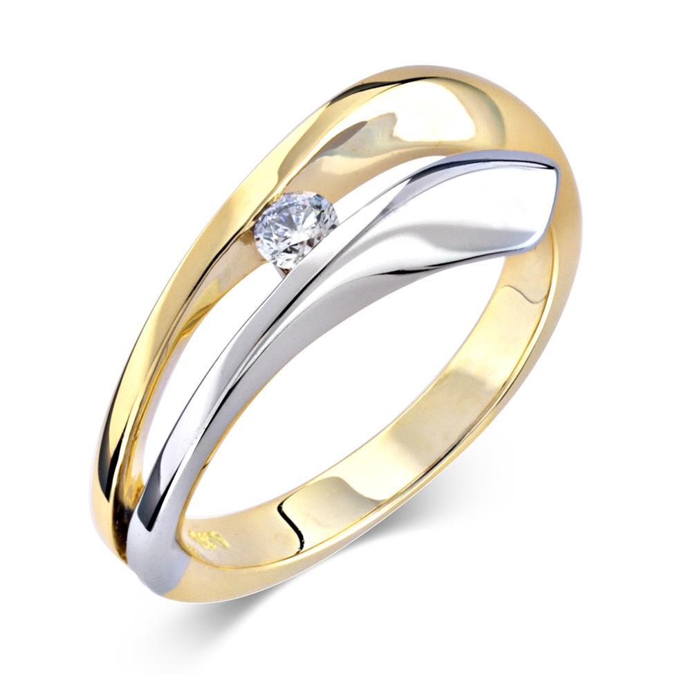 18ct Yellow and White Gold Wave Design Diamond Dress Ring 0.10ct Thumbnail Image 0