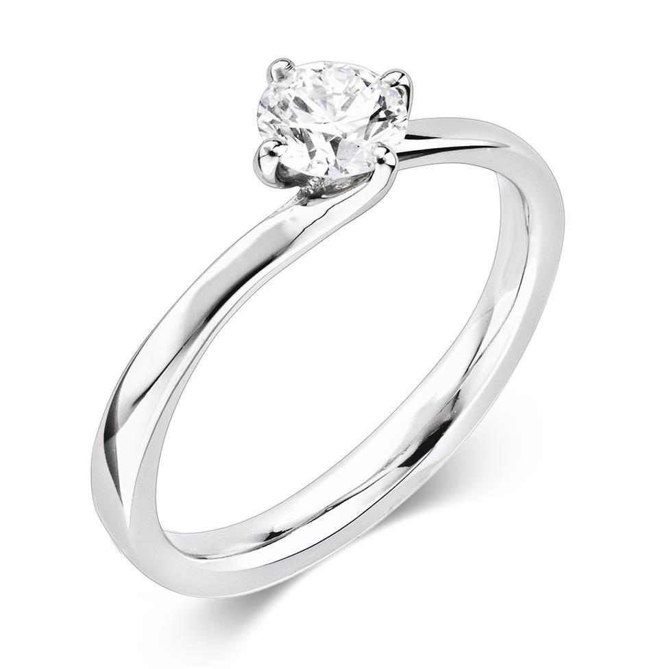 Platinum Twist Design Diamond Solitaire Engagement Ring 0.50ct Thumbnail Image 0